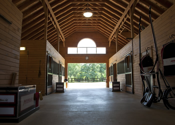 horse stable interiors with tack and large doors